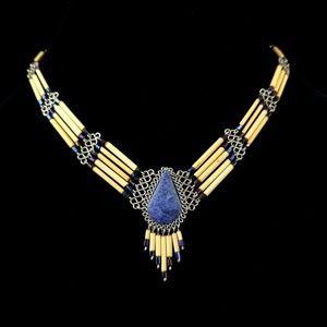 Bohemian Blue Stone Beaded Tribal Necklace